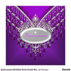 Quinceanera Birthday Party Purple Magenta Card Quinceanera 15th Birthday Party Purple Magenta Beads White Invitation Birthday Party womens girls