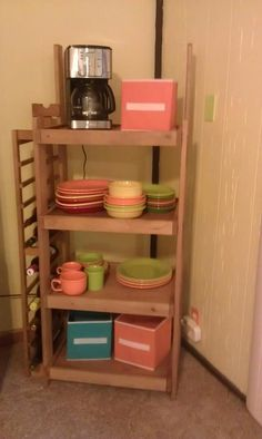 old wine rack from wine store. Perfect to show off Fiesta Ware