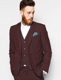 Asos Slim Fit Suit Jacket In Burgundy Pindot
