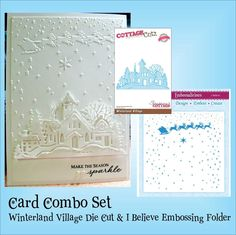 WINTERLAND VILLAGE Die by COTTAGE CUTZ and I BELIEVE embossing Folder COMBO set #crafterscompanion