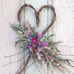 Dried Flower Twig Heart Wall Arrangement by treasuredflorals, $24.00