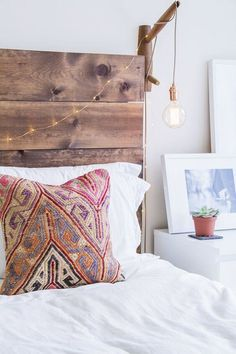 If your bed room is feeling a bit blah, one method to take the room from dull to fab is with a DIY wood headboard. Creating your own wood headboard ca. My New Room, My Room, Home Bedroom, Bedroom Decor, Bedrooms, Master Bedroom, Bedroom Inspo, Nature Bedroom, Bedroom Rustic
