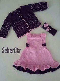 Beautiful B Babyknitting - DIY & Crafts Baby Knitting Patterns, Knitting For Kids, Crochet For Kids, Knit Baby Dress, Baby Cardigan, Baby Girl Crochet, Crochet Baby Clothes, Baby Witch Costume, Diy Crafts Dress