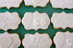 Wedding anniversary cookies 50th Anniversary Cookies, 50 Anniversary, Anniversary Parties, Decorating Supplies, Cookie Decorating, Grandma Birthday, Wedding Cookies, Sugar Cookies, Appetizers