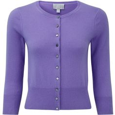 Pure Collection Camilla Crop Cashmere Cardigan, Deep Lavender ($145) ❤ liked on Polyvore featuring tops, cardigans, lavender cardigan, purple cropped cardigan, purple top, 3/4 sleeve tops and 3/4 sleeve cardigan