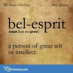 bel-esprit bel-es-PREE , noun; 1. a person of great wit or intellect.