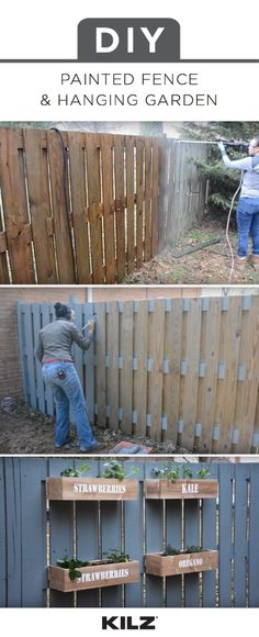 If you've got limited space in your backyard, why not check out this DIY painted fence and hanging garden tutorial from Serena, of Thrift Diving. The painted fence is a great way to add a pop of bright color to your home while the hanging garden is an easy solution to a small yard. Use KILZ Over Armor Paint to create a durable, weatherproof finish on your wooden fence.