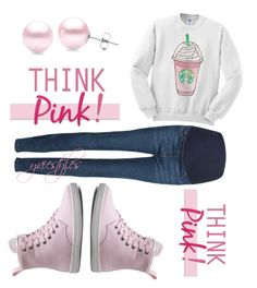 """Think Pink!"" by yviestyle ❤ liked on Polyvore featuring M&S Collection, Dr. Martens, Suzy Levian, women's clothing, women's fashion, women, female, woman, misses and juniors"
