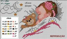 Muito lindo esse gráfico nas versões menino e menina... Cross Stitch For Kids, Cross Stitch Baby, Cross Stitch Charts, Cross Stitching, Cross Stitch Embroidery, Cross Stitch Silhouette, Wedding Cross Stitch Patterns, Cross Stitch Pictures, Needlepoint Kits