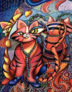 Art: Feline Mystique (SOLD) by Artist Alma Lee
