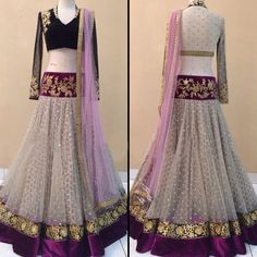 Net Zari & Border Work Off White Semi Stitched Lehenga - 1418 at Rs 3999