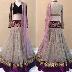 Net Zari & Border Work Off White Semi Stitched Lehenga - 1418 at Rs 3999
