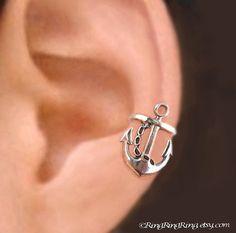 925 Ancla bien - joyería de plata esterlina oreja brazalete pendiente - no perforado earcuff único clip, Marina de guerra regalo, derecho