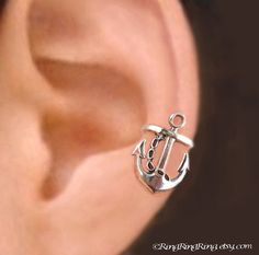 925 Anchor RIGHT - Sterling Sliver ear cuff earring jewelry - non pierced earcuff clip navy 011013 via Etsy