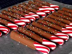Chocolate dipped peppermint sticks for hot cocoa.