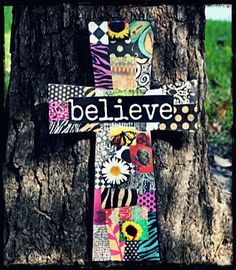 Unique Inspirational BELIEVE Wooden Cross by YouGotFramed27, $20.00