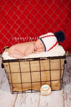 NEW ITEM Baby Boy Baseball Beanie with Pom Pom by candiedots, $20.00