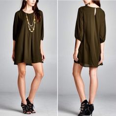 2 left (S&L) - Tunic dress Tunic dress in a gorgeous olive color and the dress is fully lined. Price is firm unless bundled. Dresses