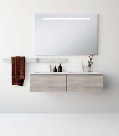 UNIBAÑO-Pack112-Baño Mueble de baño con encimera de 120cm con 2 lavabos y mueble portalavabo 2 cajones.Espejo con iluminación led. Barra para accesorios de baño PVP Recomendado 1285€