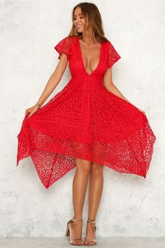 Mad Rush Dress Red