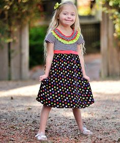 This Black Polka Dot Ruffle Babydoll Dress - Girls by Freckles + Kitty is perfect! #zulilyfinds http://www.zulily.com/invite/kripley070