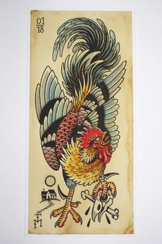 High-quality Giclée-Print on Hahnemühle William Turner 190 gsm FineArt Aquarell paper 23 x 50 cm, unframed Rooster Tattoo, Rooster Art, Hahn Tattoo, Tattoo Drawings, Body Art Tattoos, Traditional Tattoo Bird, Tiger Tattoo Sleeve, Dessin Old School, Tattoo Posters
