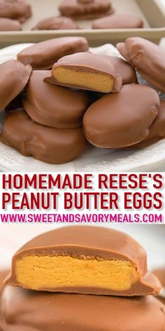 Homemade Peanut Butter Eggs are loaded with peanut butter and covered in a delicious chocolate coating peanutbutter reeseseggs easterrecipes easter sweetandsavorymeals recipevideo nobake Bon Dessert, Dessert Party, Simple Dessert, Dessert Dishes, Reeses Peanut Butter, Peanut Butter Recipes, Peanut Butter Balls, Peanut Butter Candy Cake Recipe, Easter Peanut Butter Eggs
