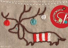 Embroidery pattern for Christmas dachshunds!