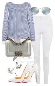 """""""Untitled #2362"""" by theeuropeancloset ❤ liked on Polyvore featuring Topshop, Ray-Ban, Chanel, Christian Louboutin and Miss Selfridge"""