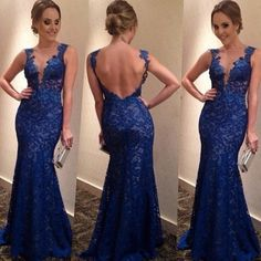 Sexy Blue Low Back Lace Floor Length Dress