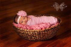 Baby headband, infant headband, newborn headband, light pink chiffon flower headband, photo prop, on Etsy, $6.49