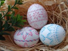 Decorated Easter Eggs Set of 3 Chicken Eggs Pysanky by EggstrArt