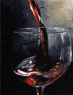 "Pouring Red Wine Art  -  ""Vino Tinto"" by Victor Bauer #cBlack #cRed #glass"