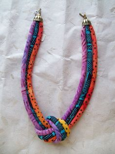Ethnic knotted  cord necklace by paintedthreads by paintedthreads2,