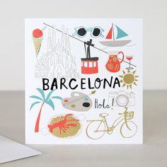 You Are Here Barcelona Travel Greeting Card   Caroline Gardner