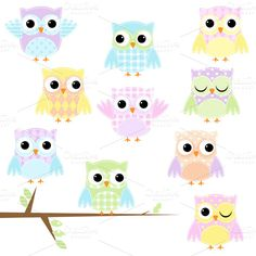 Pastel Patchwork Owls Vector/Clipart ~ Illustrations on Creative Market