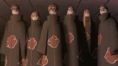 """Los Seis Caminos del Dolor (ペイン六道, Pein Rikudō ) fue un jutsu utilizado por Nagato, el cual sirvió como su representación en Akatsuki. Permitió a Nagato controlar seis cuerpos distintos, como si fuesen el suyo propio. Cada uno de estos cuerpos fueron cadáveres reanimados, los cuales hicieron uso del chakra de Nagato. Mientras los controlaba, Nagato utilizó el alias de """"Pain """", y aun así los consideraba como algo separado de sí mismo. Todos, los seis caminos, fueron destruidos por Na..."""