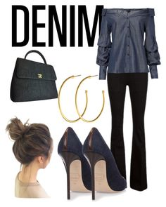 """""""Date Night Double Denim"""" by bevlash on Polyvore featuring Frame, Exclusive for Intermix, Chanel and Dyrberg/Kern"""