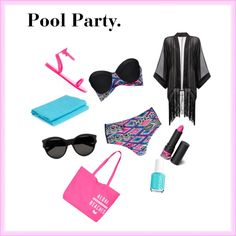 Pool Party by xxmsamazingxx on Polyvore featuring polyvore fashion style Boohoo Yves Saint Laurent Monki Essie FB Collection
