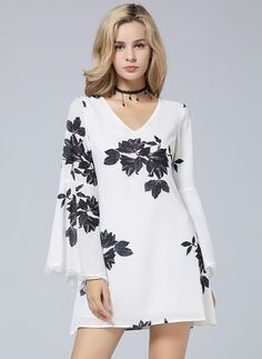 Polyester Floral Long Sleeve Mini Casual Dresses (1955108932)