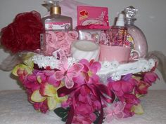 (Spa Gift Basket) One of a kind handcrafted Donated Fund Raiser For Breast Cancer.
