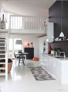 Ceilings high enough for lofts, probably no kitchen though. (I know this is a loft apartment, but Im thinking more for having this type of a room in an actual house.) - Home Decor Pin Sweet Home, Interior Exterior, Kitchen Interior, Kitchen Furniture, Furniture Layout, Furniture Design, Interior Shop, Interior Office, Farmhouse Interior