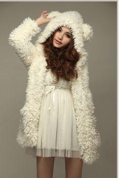 Vintage 2013 Winter Women White Hoodie Cute Bear Ear Outwear Korean Rolls Thick Long Sleeve Coat $26.45