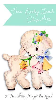 Passover Baby Lamb Clipart, Free Vintage lamb clip art, Passover decor ideas #2014 #Passover #DIY #crafts #ideas #decor #lamb www.loveitsomuch.com