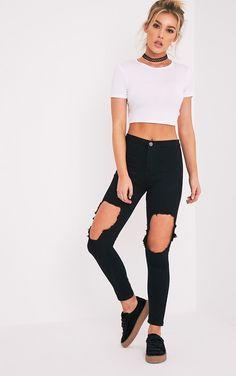 Jean skinny noir taille haute déchiré aux genoux délavage moyenRavagez la ville dans ces jeans dé...