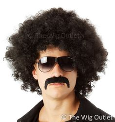 Big Black Fro & Mo Set (Afro Wig & Moustache) HIGH QUALITY CLASSIC 1970's BLACK MENS 70's DISCO AFRO COSTUME WIG & MOUSTACHE SET  This classic big loose afro style is a perfect Red Foo, 70's Mens Disco Costume Wig, and when coupled with the awesome handlebar moustache is creates the 70's look www.thewigoutlet.com.au