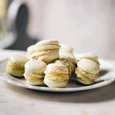 Pistachio and Lemon Macarons. Lemon Macaroons, Pistachio Macarons, Pistachio Recipes, Macaroon Recipes, British Baking, Gel Food Coloring, Tray Bakes, Cooking Time, A Food