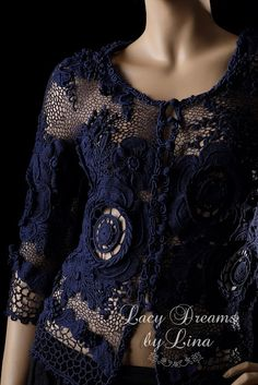 Lina Lace Desing: Navy blue silk jacket