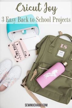 Create 3 easy DIY back to  school projects with the Cricut Joy! Includes tutorials for a DIY  personalized water bottle, DIY monogram backpack, and custom card! These Cricut Joy projects can all be made in no time! Monogram Backpack, Diy Backpack, Baby Pants Pattern, Personalised Gifts Diy, Baby Gifts To Make, Sewing Baby Clothes, Diy Back To School, Diy Monogram, My Sewing Room