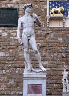 Copy of Michelangelo's David in Florence's most famous square - Piazza della Signoria, heart of the historic centre